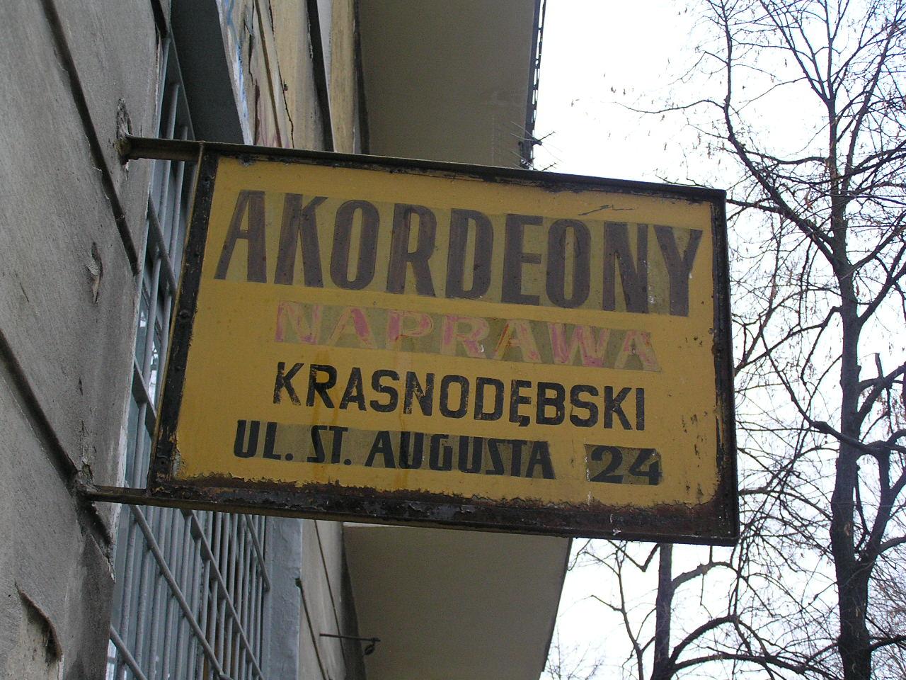 Szyld reklamowy - Stanisława Augusta 24
