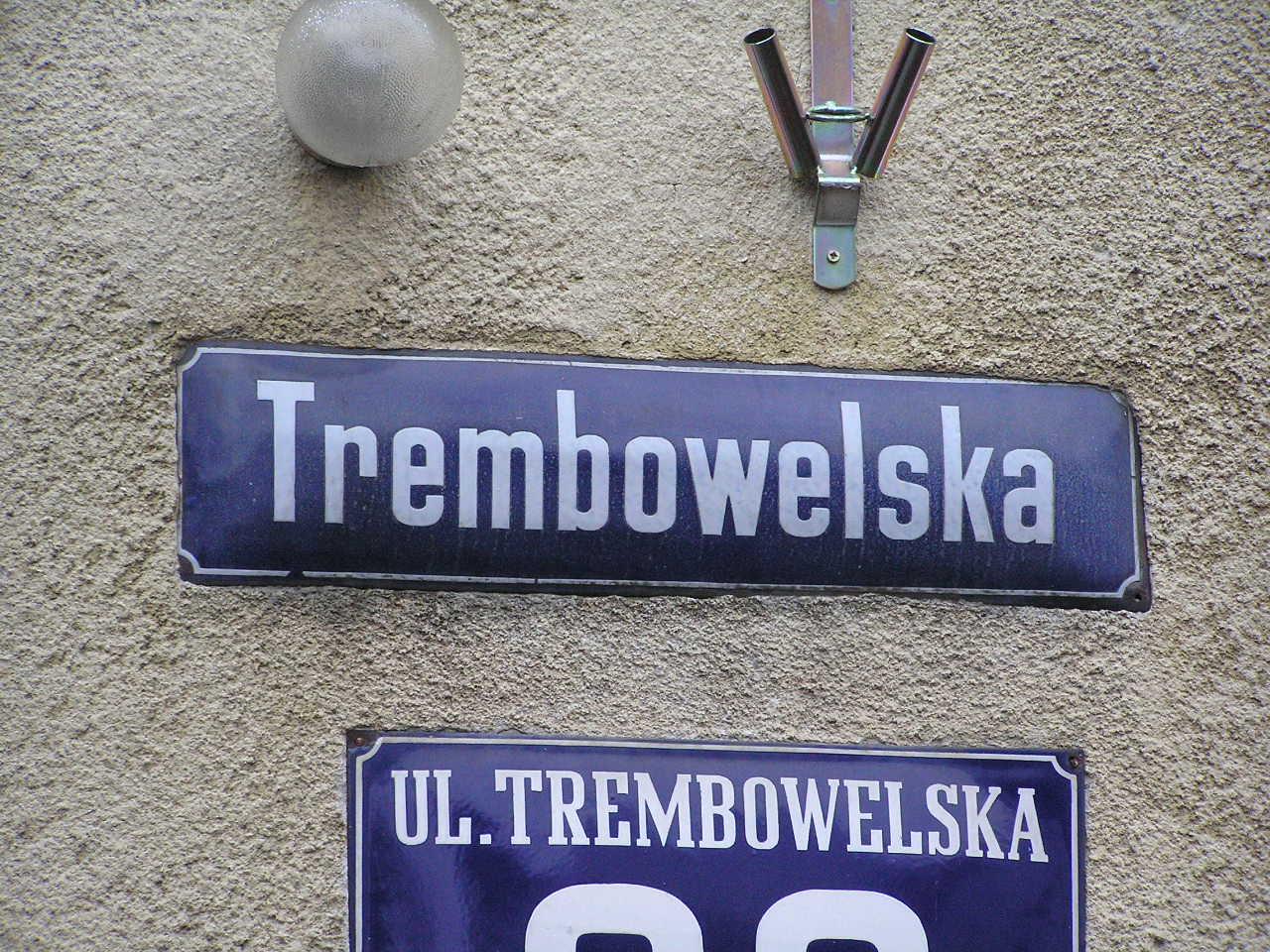 Tablica z nazwą ulicy - Trembowelska 26