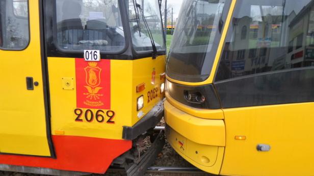 Zderzenie tramwajów na pętli Gocławek