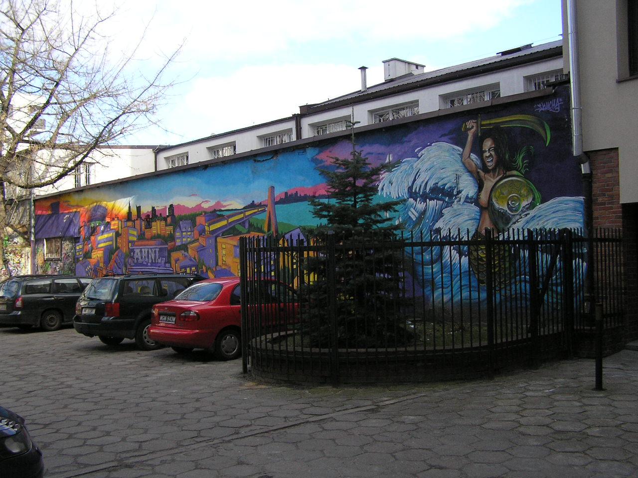 Mural na ścianie przy ulicy Kaleńskiej 3 na Grochowie