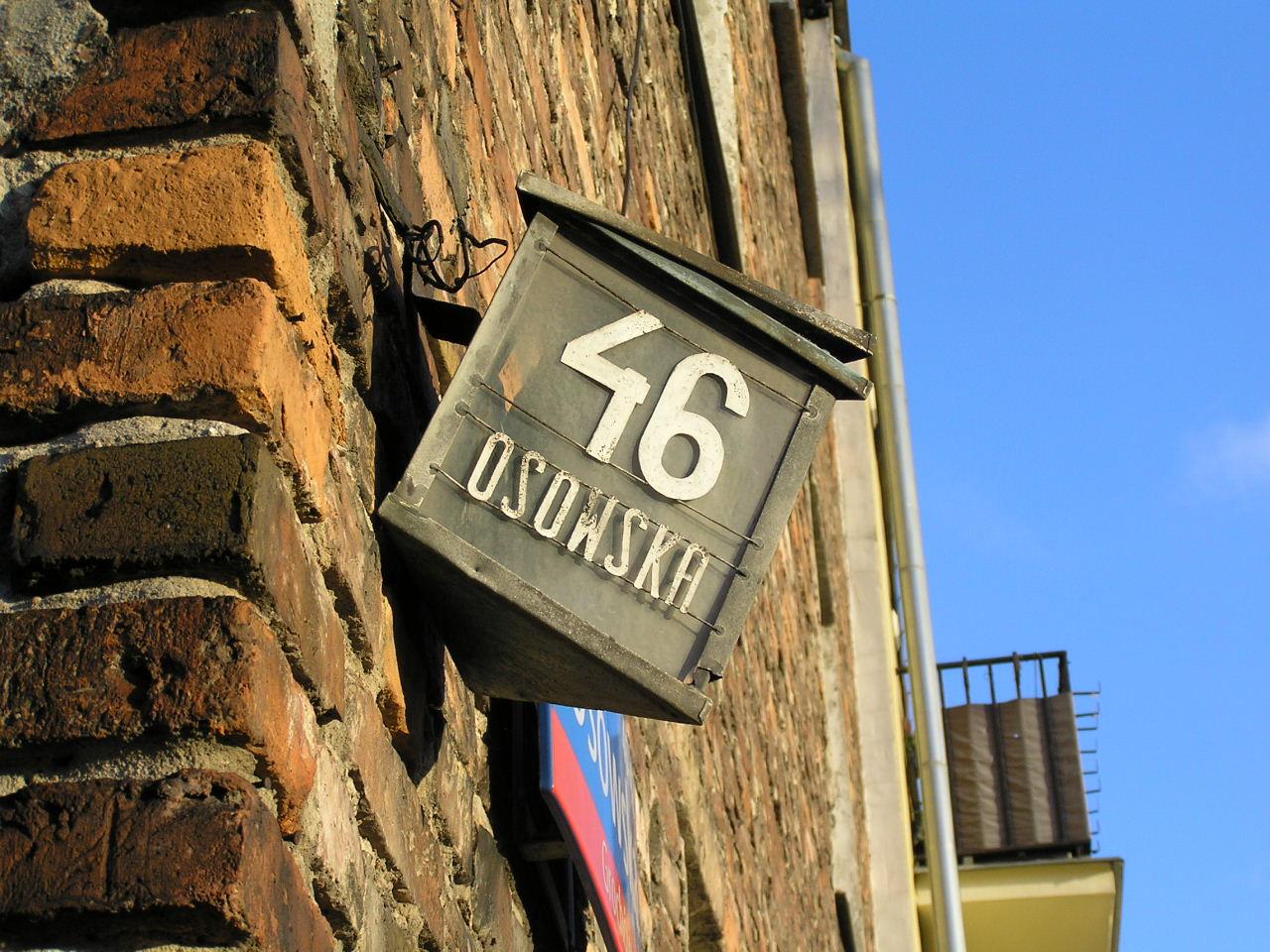 Latarenka adresowa - Osowska 46
