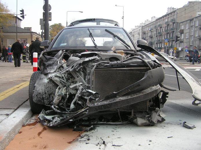 Wypadek z udziałem motocyklisty na Grochowskiej