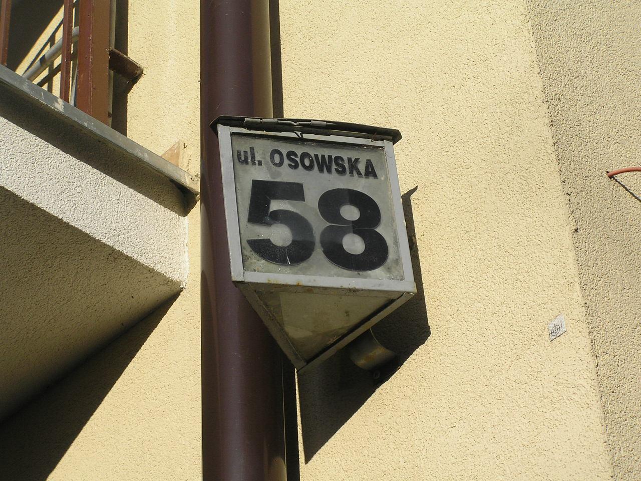 Latarenka adresowa - Osowska 58