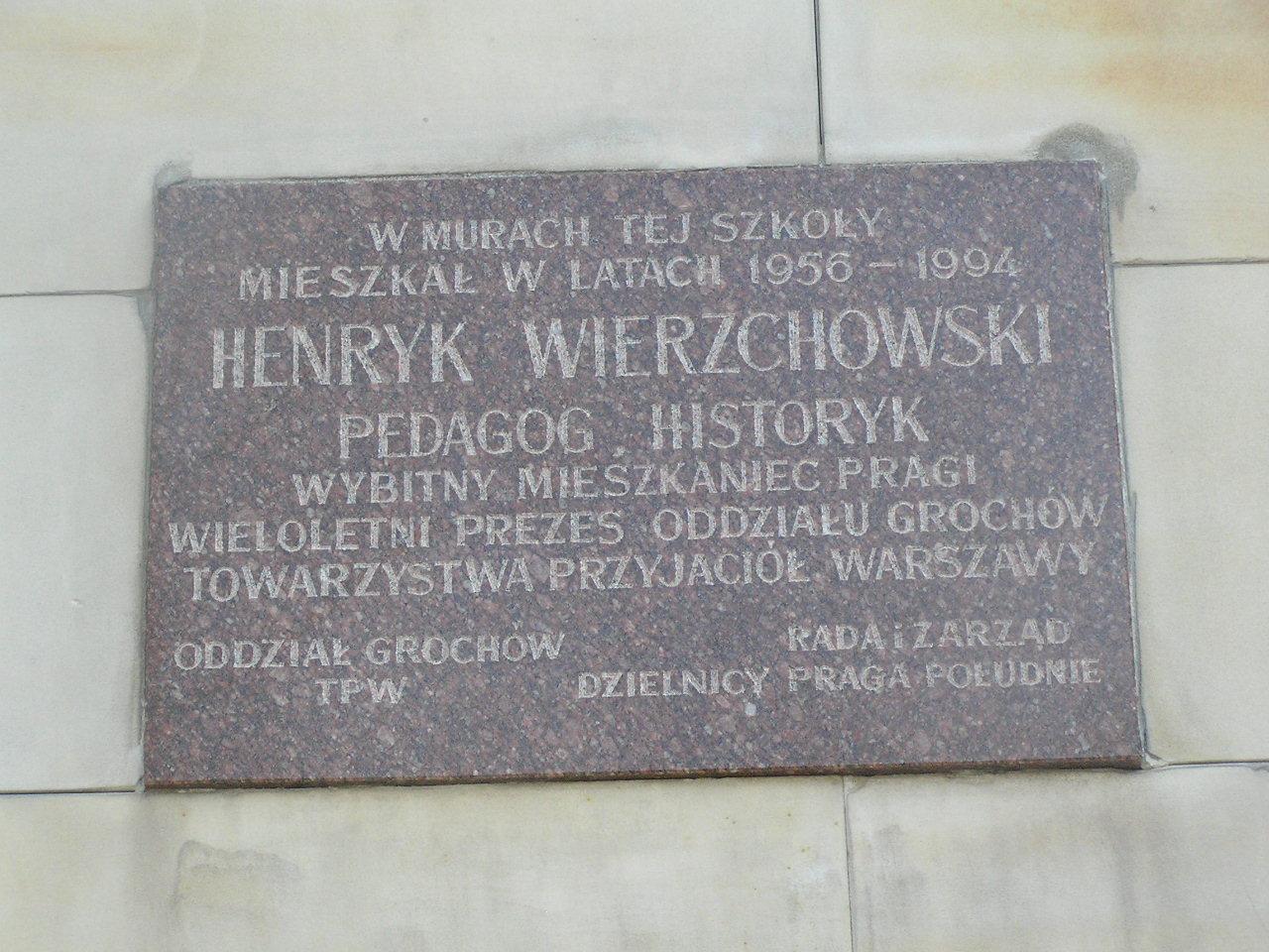 Tablica pamięci Henryka Wierzchowskiego