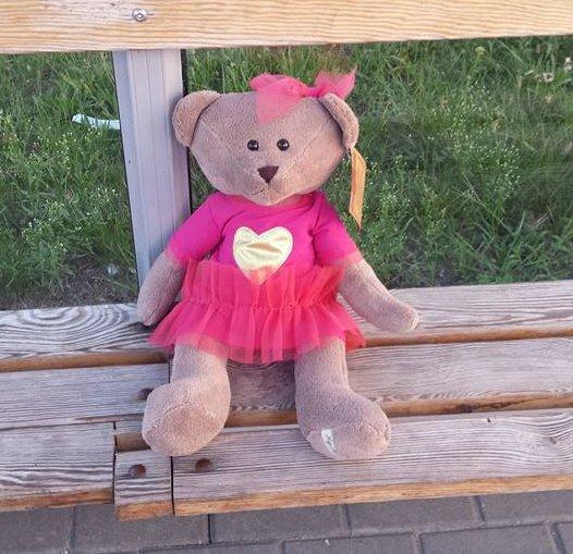 Miś - przytulanka znaleziony na przystanku przy Szaserów