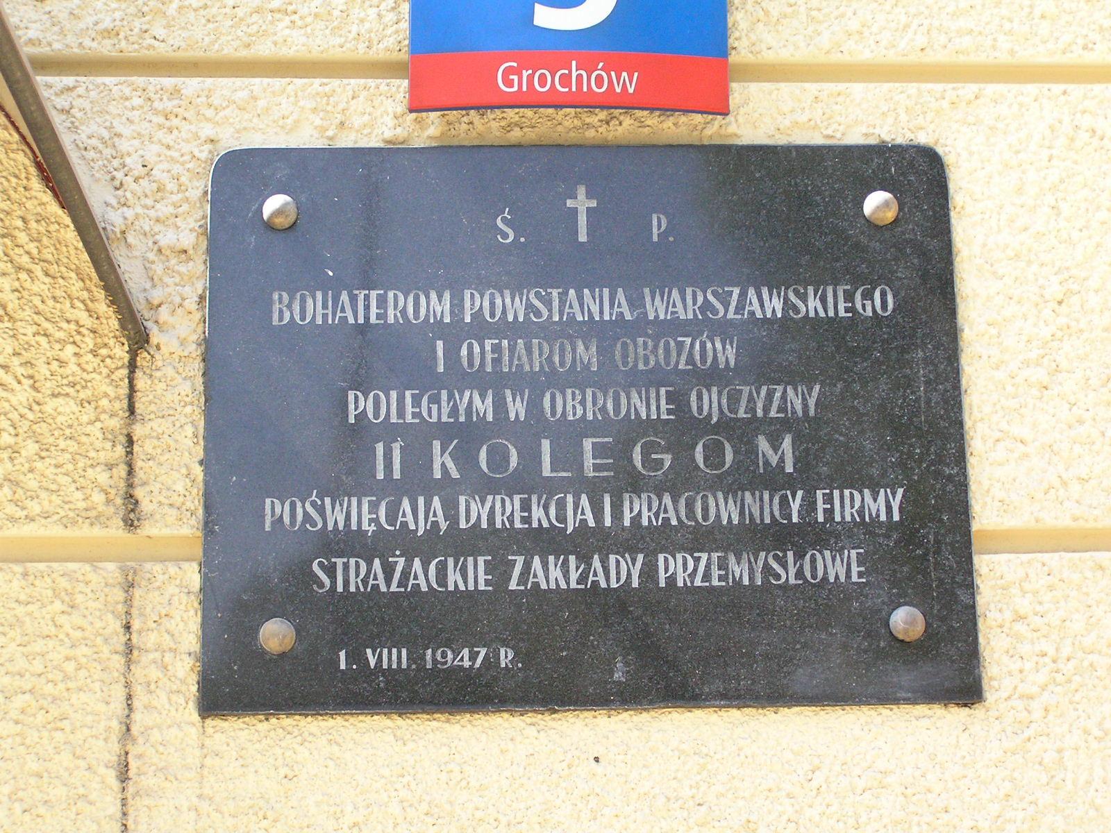 Tablica upamiętniająca poległych pracowników Zakładów Strażackich