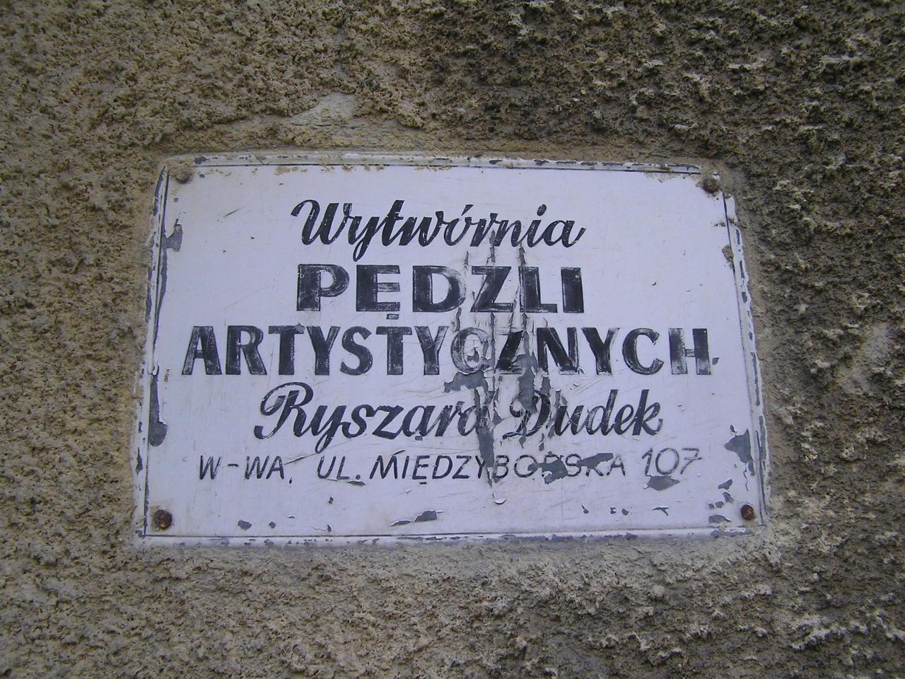 Tabliczka reklamowa - Międzyborska 107