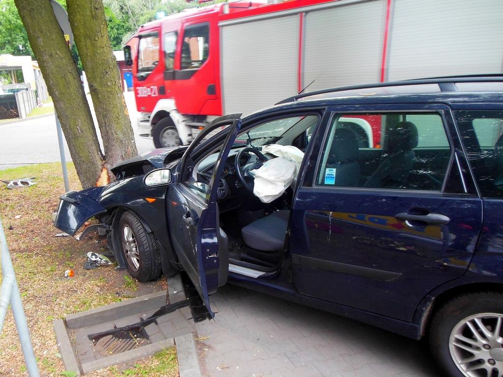 Samochód uderzył w drzewo, fot. sekc. Krzysztof Abramczuk