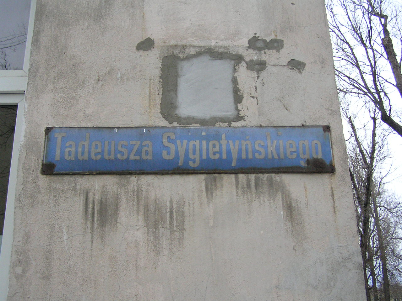 Tablica z nazwą ulicy - Sygietyńskiego 3