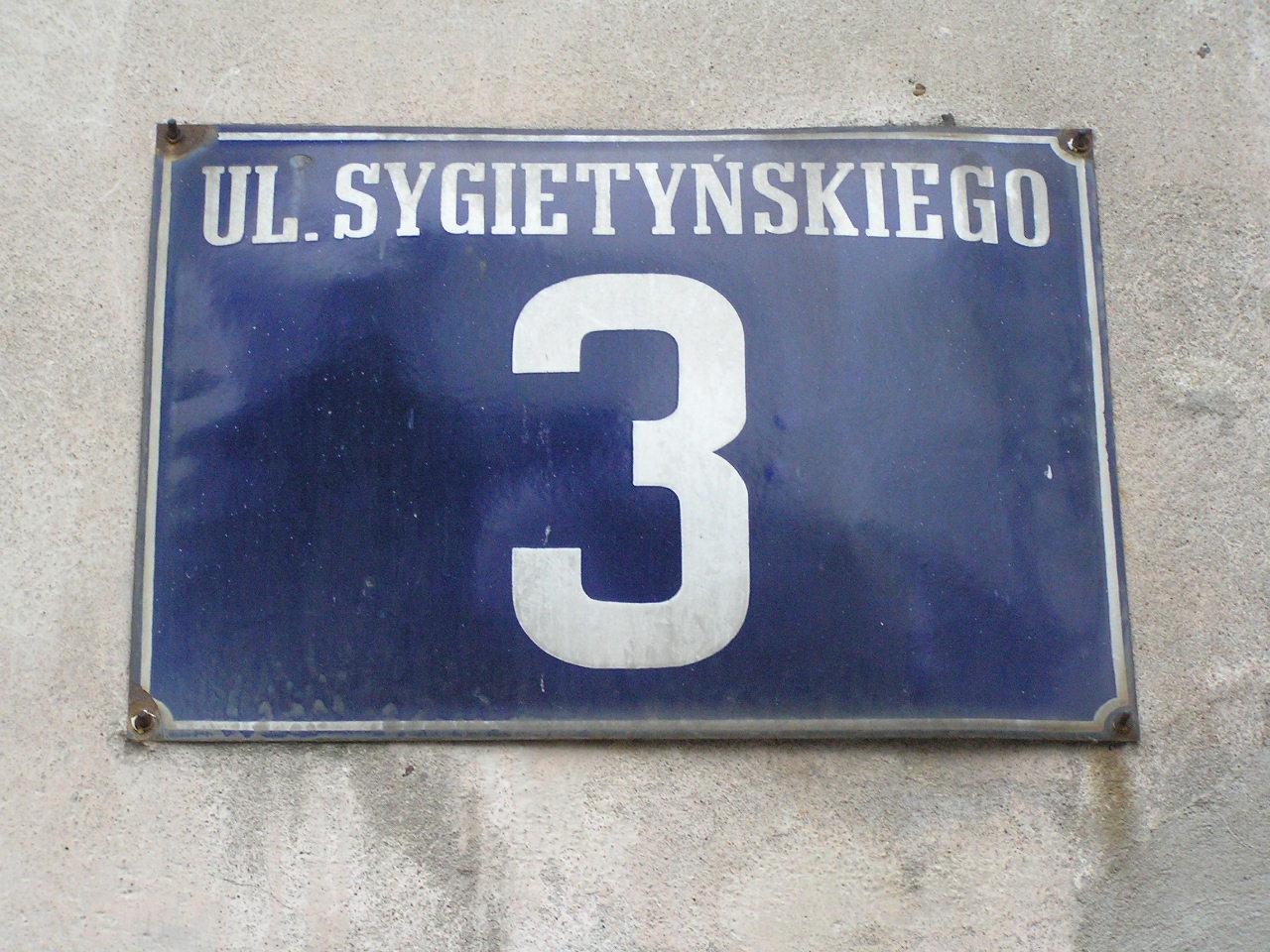 Tablica adresowa - Sygietyńskiego 3