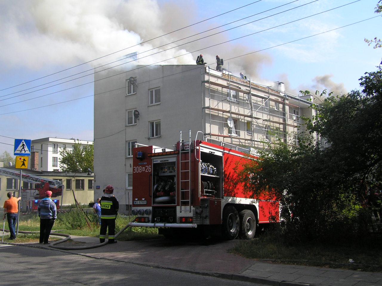 Pożar budynku przy Wiarusów 15