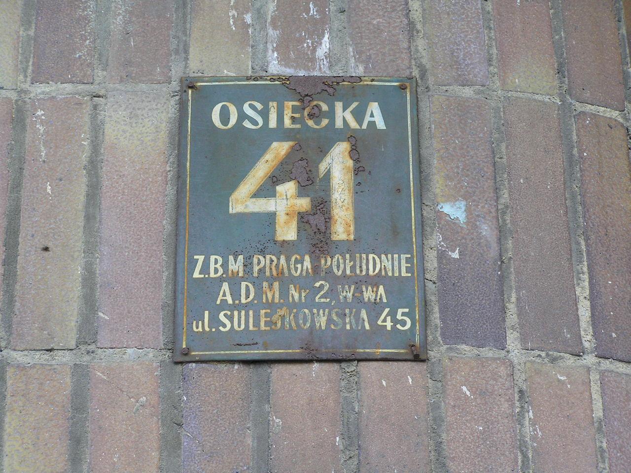 Tablica adresowa - Osiecka 41
