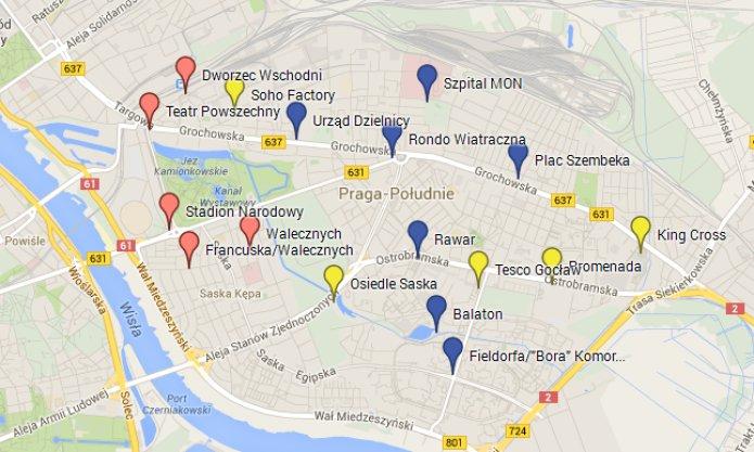Mapa z propozycjami nowych stracji, fot. Mapy Google