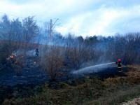 Pożar trawy na nasypie kolejowym, fot. mł. kpt. Bartłomiej Wójcik